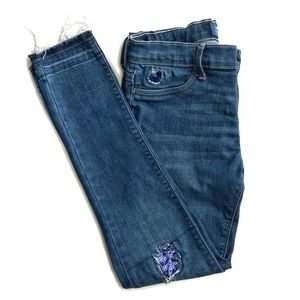 Old Navy Sequin Patch Frayed Skinny Jeans • 14